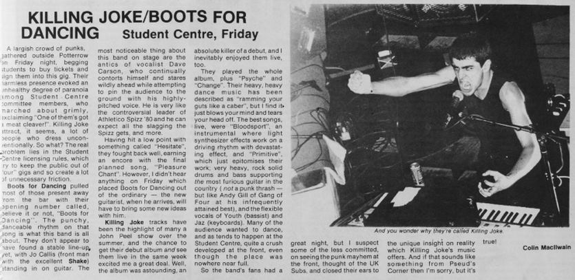 Clipping from Edinburgh University student newspaper about Killing Joke gig
